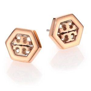 Tory Burch rose gold logo stud earrings NWT